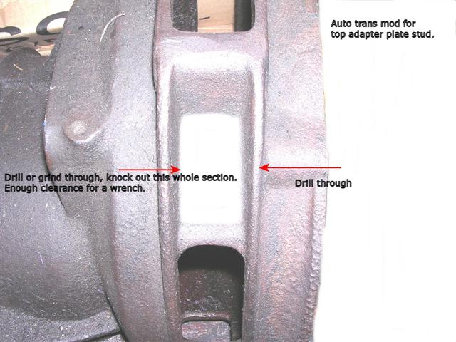 Remove bell housing section to allow wrench